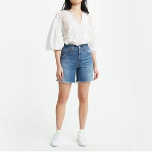 NEW Levi's 501 Mid Thigh Cut Off Jean Shorts